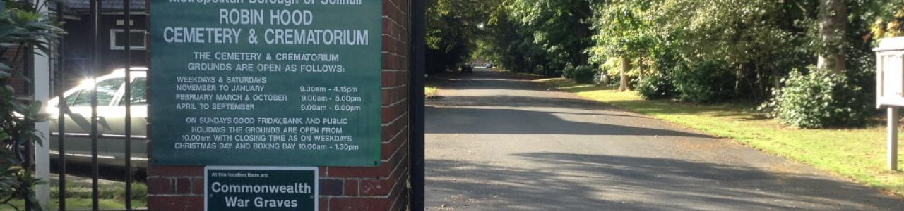 Solihull Robin Hood Crematorium entrance sign